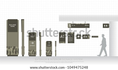 exterior and interior signage system. direction, pole, wall mount and traffic signage system design template set. empty space for logo, text, green color corporate identity
