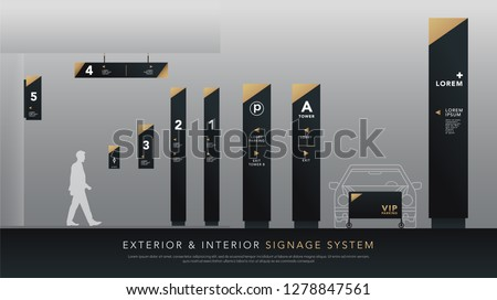 exterior and interior signage system. direction, pole, wall mount signboard and traffic signage design template set. empty space for logo, text, white and gold corporate identity #1278847561