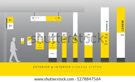 exterior and interior signage system. direction, pole, wall mount signboard and traffic signage design template set. empty space for logo, text, white and yellow corporate identity
