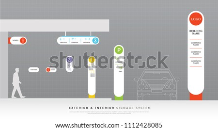 exterior and interior signage white and color concept. direction, pole, wall mount and traffic signage system design template set. empty space for logo, text corporate identity