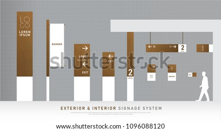 exterior and interior signage wooden concept. direction, pole, wall mount and traffic signage system design template set. empty space for logo, text, black and gold corporate identity
