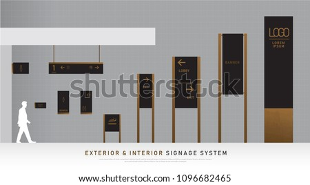exterior and interior signage wooden concept. direction, pole, wall mount and traffic signage system design template set. empty space for logo, text, black and wood corporate identity #1096682465