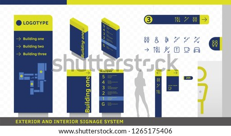 Exterior and interior wayfinding signage. Signage system design template set. EPS 10 illustration.