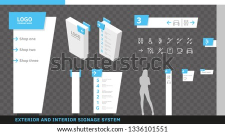 Exterior and Interior Wayfinding Signage System. Directional, Wall Mount, Door Signage Program Design Template with Navigation Icon Set