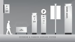 exterior and parking signage. directional, pole, and traffic signage system design template set. empty space for logo, text corporate identity