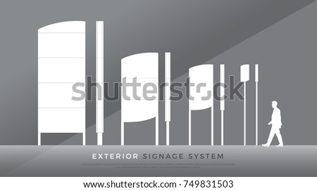 exterior signage. highway, tower, pylon signage system design template set. blank space for logo, text, color corporate identity