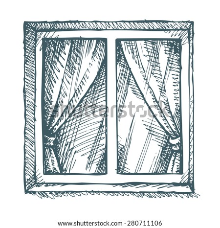 Exterior view of a closed square modern window in concrete wall. Vector monochrome freehand ink  sc 1 st  Vecteezy & Window Drawings - Download Free Vector Art Stock Graphics u0026 Images