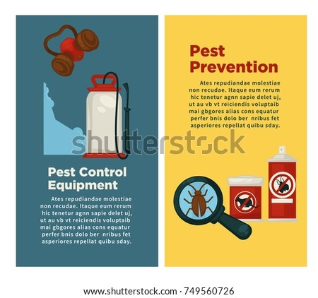 extermination or sanitary pest control disinfection equipment vector flat design poster