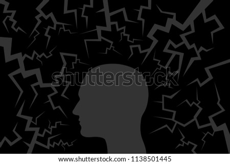 External danger and threat causing fear and anxiety of man. Dangerous crack around head. Vector illustration