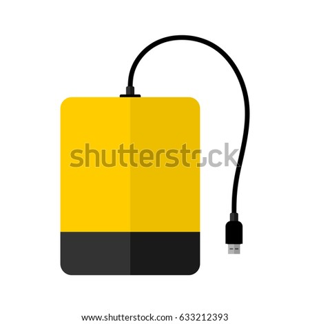 External hard drive flat icon. HDD. White background. Vector.