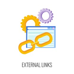 External link flat icon. SEO, increase the quantity and quality of traffic to website. Digital marketing. Content strategy for online promotion. Marketing and advertising. Flat vector illustration.