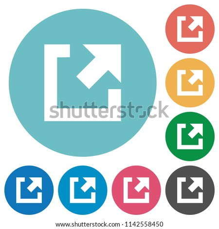 External link flat white icons on round color backgrounds