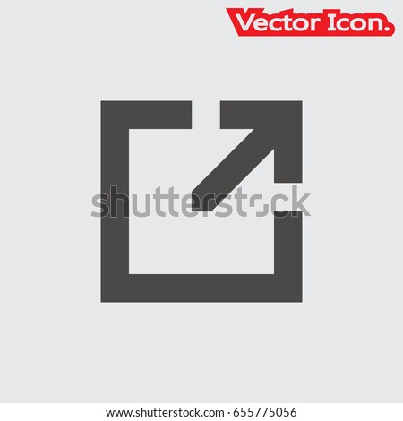 External Link icon isolated sign symbol and flat style for app, web and digital design. Vector illustration.