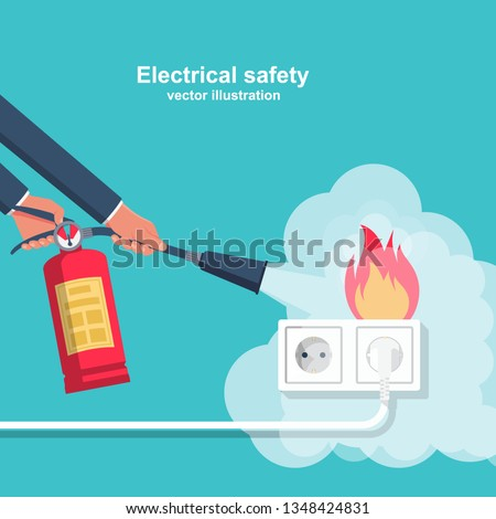 Extinguish fire wiring in home. Socket and plug on fire from overload. Electrical safety concept. Vector illustration flat design. Fireman hold in hand fire extinguisher. Protection from flame.