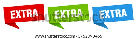 extra banner. extra speech bubble label set. extra sign ストックフォト ©