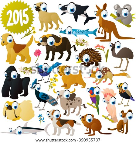 extra big set of animals. Funny colorful comic cartoon animals , birds and fish. Collection for animal lovers. Illustration for books, apps, stickers, labels, logos, icons or banners