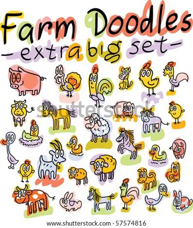 extra big set of vector farm animals