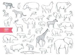 Extra big set zoo animals contour cartoon for coloring book. Lama, bull, buffalo, pelican, goat, antelope, gopher, polar bear, panther, fur seal, lemur, lynx, yak, hyena, flamingo, cheetah, walrus.