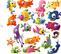 extra big vector fish set