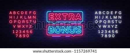 Extra Bonus neon sign vector. Bonus neon text Design template neon sign, light banner, signboard, nightly bright advertising, light inscription. Vector Illustration. Editing text neon sign