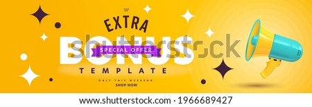 Extra bonus offer during super sale campaign announcement. Header banner template design with promotion text and megaphone. Special shop now proposition only on weekend vector illustration