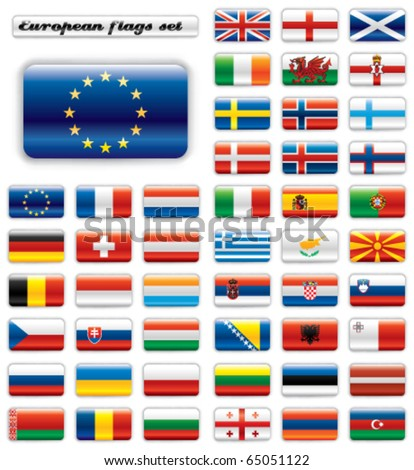 Extra glossy button flags. Big European set. 48 Vector flags. Original size of EU flag included.