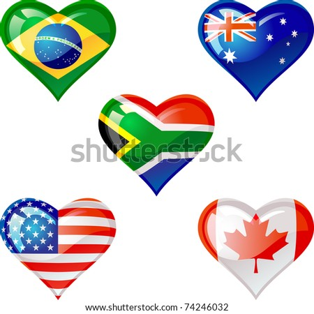 Extra glossy  Flag heart,are good for: icon, button, design, decoration, or as a symbol.