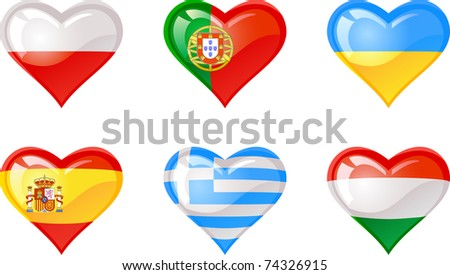 Extra glossy vector Flag heart, are good for: icon, button, design, decoration, or as a symbol.