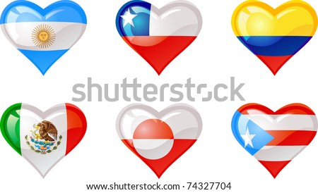 Extra glossy vector Flag heart, are good for: icon, button, design, decoration,  symbol. - stock vector