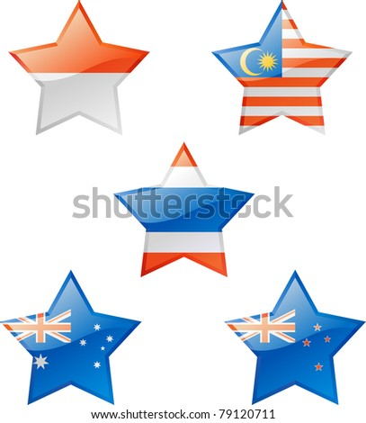 Extra glossy vector stars, national flag icons.