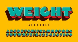 Extra heavy 3d alphabet design in bright colors. Weight font is a super extra bold capitals lettering style with a fun pop art vibe and a vivid vintage color scheme.