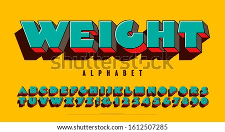 Extra heavy 3d alphabet design in bright colors. Weight font is a super extra bold capitals lettering style with a fun pop art vibe and a vivid vintage color scheme. Сток-фото ©