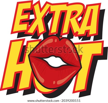 EXTRA HOT WITH LIPS RELPACING O VECTOR ILLUSTRATION Foto stock ©