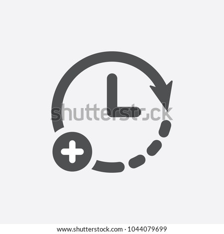 Extra hour, extra time icon. Clock icon with add sign. Clock icon and new, plus, positive symbol. Extra, icon, time, hour, plus, more, add, clock, concept, flat, increase