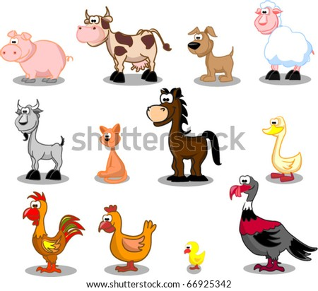 Extra large set animals including cows, turkeys, sheep, horse, goose, duck, dog, cat, chicken, goat, pig, rooster, chicken