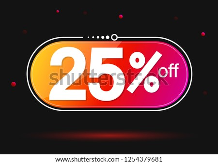 Extra Sale, banner design template, discount tag, 25% off, best offer, app icon, vector illustration