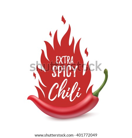 Shutterstock Extra spicy chili paper poster, badge or banner template with fire, isolated on white background. Vector illustration.