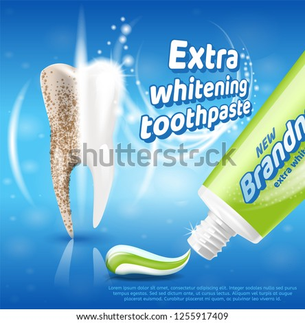 Extra Whitening Toothpaste Healthy Teeth Concept. Banner Vector Realistic Illustration 3d New Toothpaste Brandname. Type Tooth Before and After Using Whitening Toothpaste. Oral Care.
