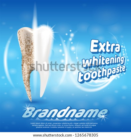 Extra Whitening Toothpaste Healthy Teeth Concept. Banner Vector Realistic Illustration 3d Tooth Before and After Using New Whitening Toothpaste Brandname. Freshness Oral Cavity. Healthy, Clean Tooth