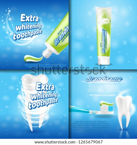 Extra Whitening Toothpaste Healthy Teeth Concept. Vector Realistic Set Illustration 3d Extruded Toothpaste, Brandname Advertisements Toothpaste, Tooth Whitening, Healthy Tooth Banner Toothbrush Paste