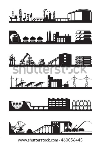 Extraction and processing of natural resources - vector illustration