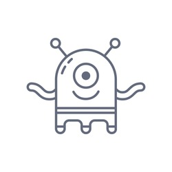 Extraterrestrial alien face or head symbol art vector icon for apps and websites