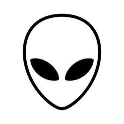 Extraterrestrial alien face or head symbol line art vector icon for apps and websites