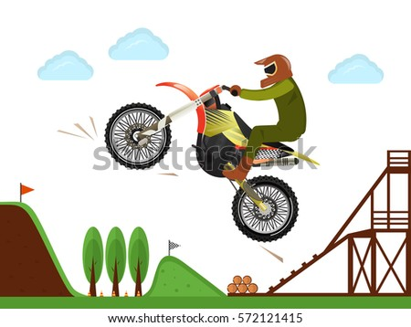 extreme motocross rider jumping