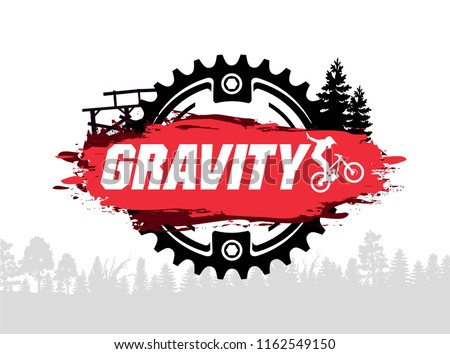 Extreme mountain biking design. Downhill, freeride,slopestyle,enduro. Jumping on bike. Gravity MTB. Vector