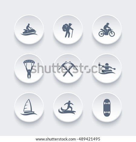 extreme outdoor activities icons set, rafting, skydiving, mountaineering, sailing, surfing, racing vector illustration