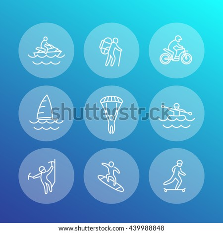 extreme outdoor activities line icons, rafting, skydiving, alpinism, skateboarding, pwc, sailing, vector illustration