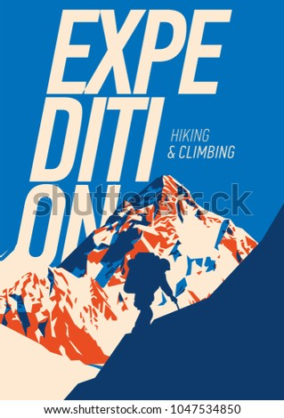 Extreme outdoor adventure poster. High mountains illustration.