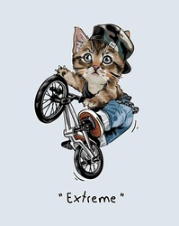 extreme slogan with cartoon cat riding bicycle vector illustration