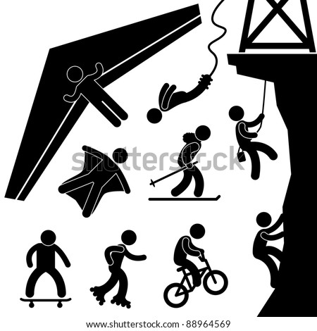 Extreme Sport Hang Glider Bungee Jump Rock Climbing Skating Icon Symbol Sign Pictogram